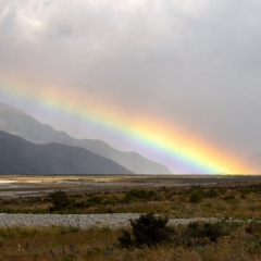 Rainbow in the Southern Alps NZ by Michelle Howell